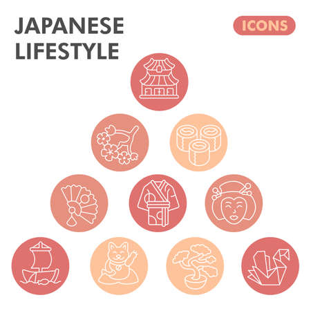 Modern japanese lifestyle Infographic design template. Asian culture inphographic visualization with ten steps circle design on orange background. Oriental template for presentation. Creative vector.