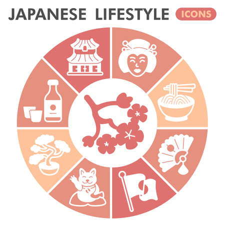 Modern japanese lifestyle Infographic design template. Asian life inphographic visualization with nine steps doughnut design on orange background. Oriental template for presentation. Creative vector.