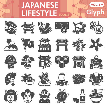 Japanese lifestyle line icon set, asian culture symbols collection or sketches. Oriental traditions glyph linear style signs for web and app. Vector graphics isolated on white background.
