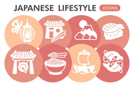 Modern japanese lifestyle Infographic design template. Asian inphographic visualization with eight steps circle design on orange background. Oriental style template for presentation. Creative vector. 矢量图像