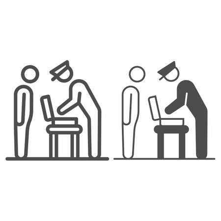 Officer examines suitcase line and solid icon, security check concept, bag contents inspection vector sign on white background, outline style icon for mobile concept and web design. Vector graphics. Ilustración de vector
