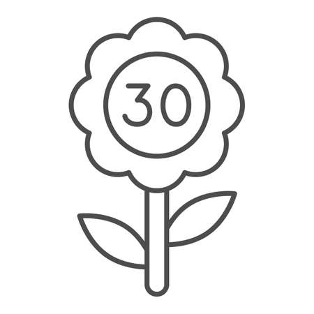 Flower with number 30 thin line icon, love and relationship concept, flower with thirty vector sign on white background, outline style icon for mobile concept and web design. Vector graphics.