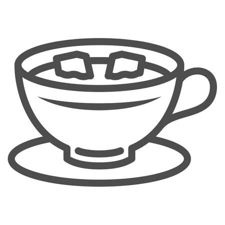 Cup of coffee with lumps of sugar on saucer line icon, hot beverages concept, mug vector sign on white background, outline style icon for mobile concept and web design. Vector graphics. 矢量图像