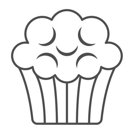 Coffee cake, cupcake, muffin thin line icon, sweets and desserts concept, pastry vector sign on white background, outline style icon for mobile concept and web design. Vector graphics. 矢量图像