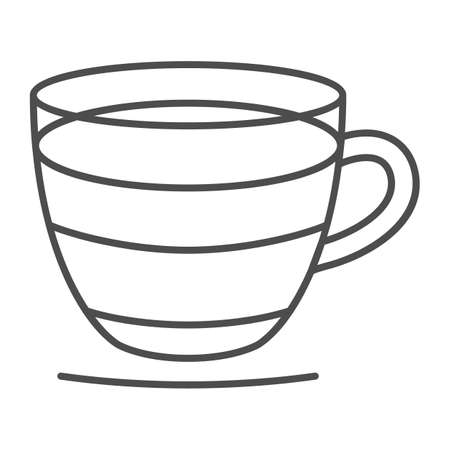 Espresso in glass cup with handle thin line icon, catering business concept, coffee in cup vector sign on white background, outline style icon for mobile concept and web design. Vector graphics.
