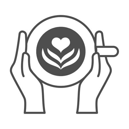 Cup of coffee with heart drawing in hands solid icon, catering business concept, latte vector sign on white background, glyph style icon for mobile concept and web design. Vector graphics.