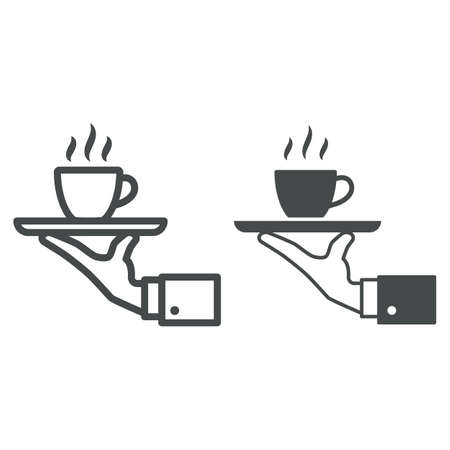 Cup of hot coffee on tray and hand line and solid icon, catering business concept, service vector sign on white background, outline style icon for mobile concept and web design. Vector graphics. 矢量图像