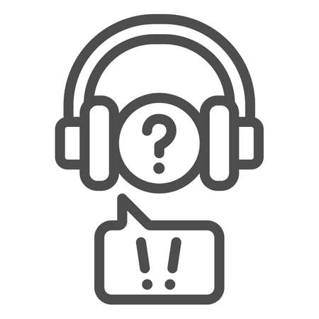 Question mark in headphones and speech bubble line icon, communication concept, hear vector sign on white background, outline style icon for mobile concept and web design. Vector graphics. 矢量图像
