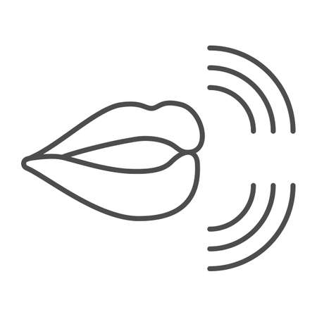 Mouth, lips, pronunciation of sounds thin line icon, linguistics concept, phonetics speech vector sign on white background, outline style icon for mobile concept and web design. Vector graphics. 矢量图像