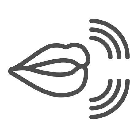 Mouth, lips, pronunciation of sounds line icon, linguistics concept, phonetics speech vector sign on white background, outline style icon for mobile concept and web design. Vector graphics.