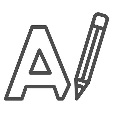 Letter A and pencil, writing line icon, linguistics concept, big A drawing vector sign on white background, outline style icon for mobile concept and web design. Vector graphics. 矢量图像