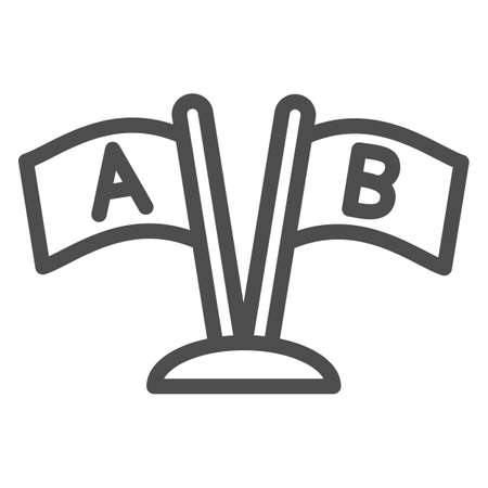 Two Flags with letters A and B line icon, linguistics concept, countries relationship vector sign on white background, outline style icon for mobile concept and web design. Vector graphics. 矢量图像