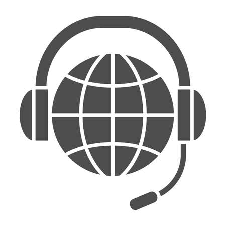 World, globe in headphones and microphone solid icon, communication concept, worldwide vector sign on white background, glyph style icon for mobile concept and web design. Vector graphics. 矢量图像