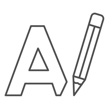 Letter A and pencil, writing thin line icon, linguistics concept, big A drawing vector sign on white background, outline style icon for mobile concept and web design. Vector graphics.