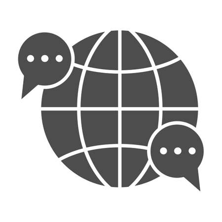 Globe, world, speech bubble, dialogue solid icon, communication concept, worldwide vector sign on white background, glyph style icon for mobile concept and web design. Vector graphics.