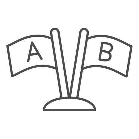 Two Flags with letters A and B thin line icon, linguistics concept, countries relationship vector sign on white background, outline style icon for mobile concept and web design. Vector graphics. 矢量图像