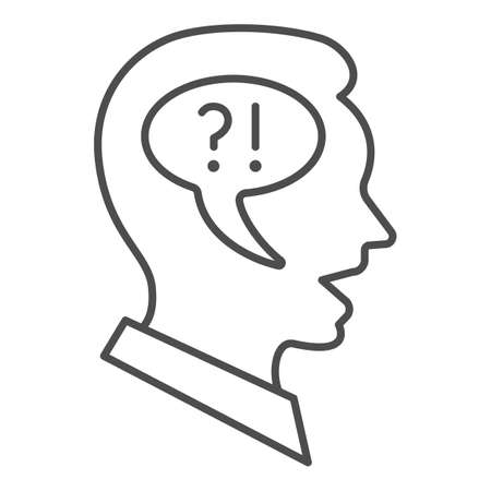 Man, speech balloon in head, question, exclamation thin line icon, thought concept, guy vector sign on white background, outline style icon for mobile concept and web design. Vector graphics.