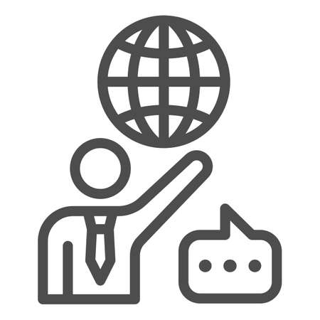 Man, globe and speech bubble, teacher line icon, communication concept, international vector sign on white background, outline style icon for mobile concept and web design. Vector graphics. 矢量图像