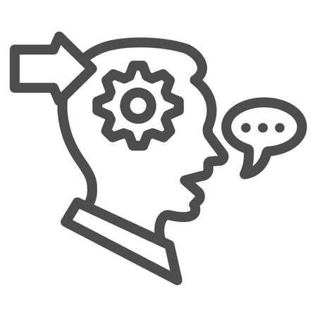 Man with gear in head, arrow, speech bubble line icon, thought concept, interpreter vector sign on white background, outline style icon for mobile concept and web design. Vector graphics. 矢量图像