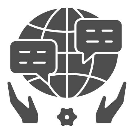 World, globe, dialogue, speech bubble, hands solid icon, peace concept, worldwide vector sign on white background, glyph style icon for mobile concept and web design. Vector graphics.