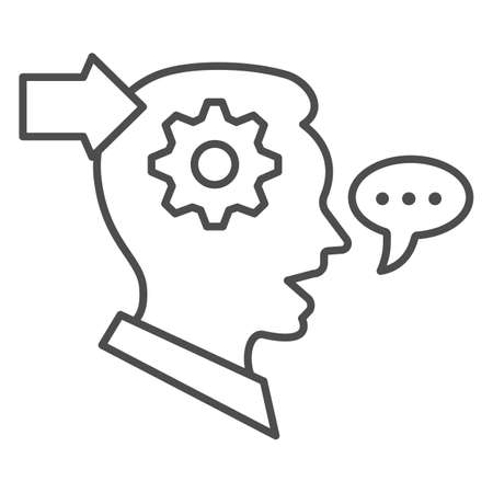 Man with gear in head, arrow, speech bubble thin line icon, thought concept, interpreter vector sign on white background, outline style icon for mobile concept and web design. Vector graphics. 矢量图像