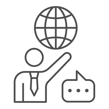 Man, globe and speech bubble, teacher thin line icon, communication concept, international vector sign on white background, outline style icon for mobile concept and web design. Vector graphics.