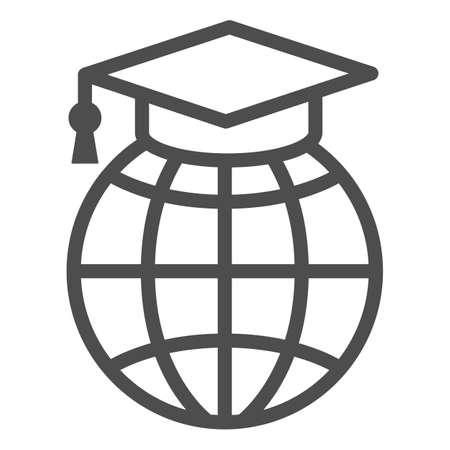 World, globe in garduation cap line icon, education concept, communication study vector sign on white background, outline style icon for mobile concept and web design. Vector graphics.
