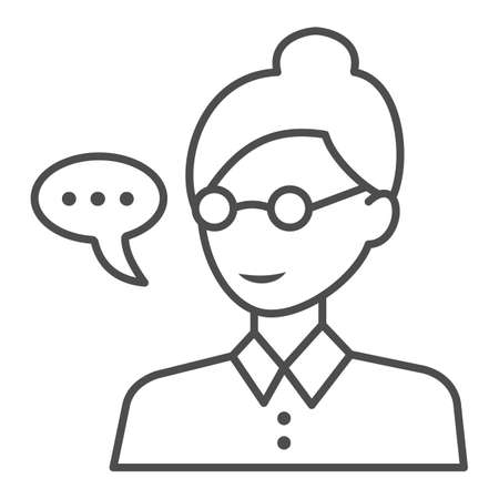 Teacher, woman in glasses, speech balloon thin line icon, education concept, professor vector sign on white background, outline style icon for mobile concept and web design. Vector graphics.