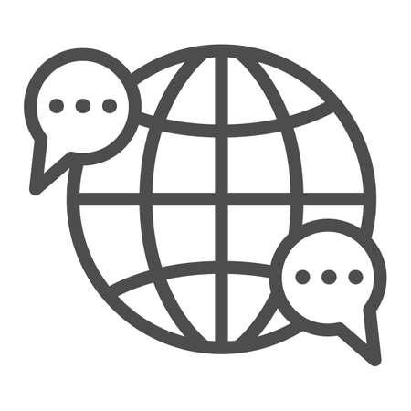Globe, world, speech bubble, dialogue line icon, communication concept, worldwide vector sign on white background, outline style icon for mobile concept and web design. Vector graphics.