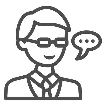 Schoolboy in glasses, student, speech balloon line icon, education concept, pupil vector sign on white background, outline style icon for mobile concept and web design. Vector graphics. 矢量图像