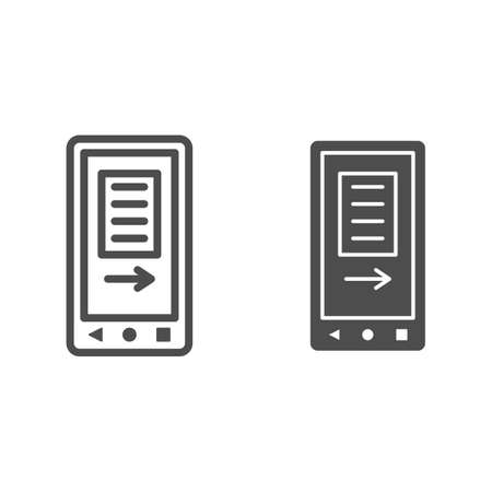 smartphone screen with text and arrow line and solid icon, electronics concept, mobile app vector sign on white background, outline style icon for mobile concept and web design. Vector graphics.