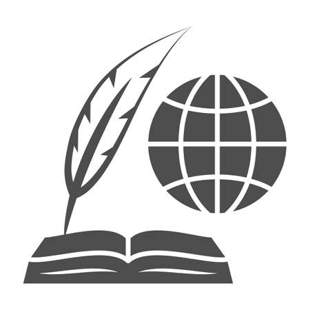 Globe, opened book and feather pen solid icon, education concept, inernational studies vector sign on white background, glyph style icon for mobile concept and web design. Vector graphics. 矢量图像