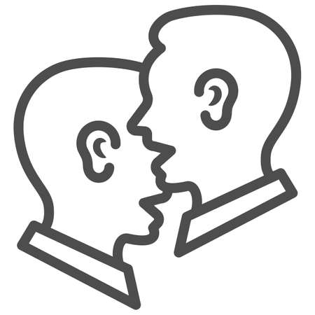 Dialogue of two men, chat, conversation line icon, communication concept, man talkig vector sign on white background, outline style icon for mobile concept and web design. Vector graphics.