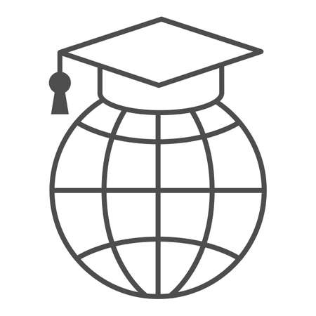 World, globe in garduation cap thin line icon, education concept, communication study vector sign on white background, outline style icon for mobile concept and web design. Vector graphics. 矢量图像