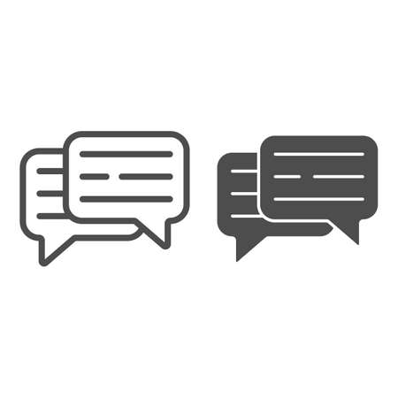 Speech bubble, text, dialogue line and solid icon, communication concept, interaction vector sign on white background, outline style icon for mobile concept and web design. Vector graphics.