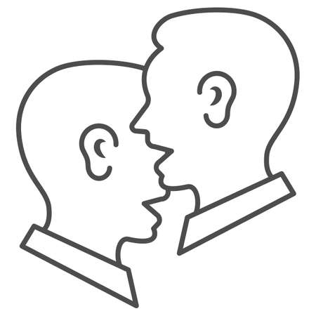 Dialogue of two men, chat, conversation thin line icon, communication concept, man talkig vector sign on white background, outline style icon for mobile concept and web design. Vector graphics.