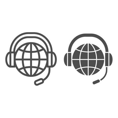World, globe in headphones and microphone line and solid icon, communication concept, worldwide vector sign on white background, outline style icon for mobile concept and web design. Vector graphics.