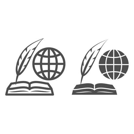 Globe, opened book and feather pen line and solid icon, education concept, inernational studies vector sign on white background, outline style icon for mobile concept and web design. Vector graphics.