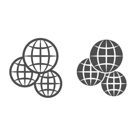Three globes, multicultural, worldwide line and solid icon, international concept, exchange vector sign on white background, outline style icon for mobile concept and web design. Vector graphics.