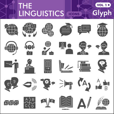 Linguistics line icon set, education symbols collection or sketches. Foreign language glyph linear style signs for web and app. Vector graphics isolated on white background.
