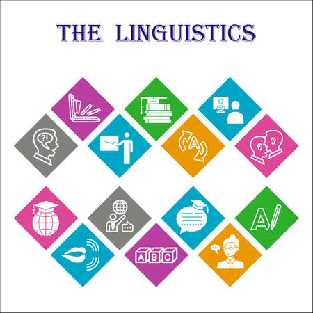 Modern linguistics Infographic design template. Education inphographic visualization with fourteen steps square design on multicoloured background. Foreign languages template for presentation.