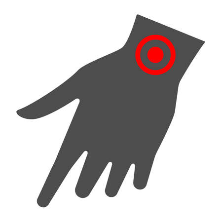 Arm wrist hurts solid icon, body pain concept, wrist pain vector sign on white background, glyph style icon for mobile concept and web design. Vector graphics. 矢量图像