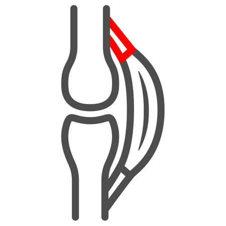Stretched tendon line icon, body pain concept, strain vector sign on white background, outline style icon for mobile concept and web design. Vector graphics.