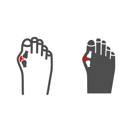 Pain in big toe joint line and solid icon, body pain concept, bunion vector sign on white background, outline style icon for mobile concept and web design. Vector graphics.