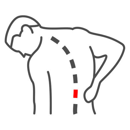 Lower back hurts thin line icon, body pain concept, spinal pain vector sign on white background, outline style icon for mobile concept and web design. Vector graphics.