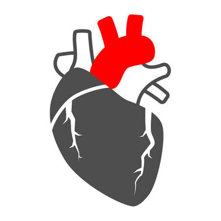 Heart valve problem solid icon, body pain concept, heart valves disease vector sign on white background, glyph style icon for mobile concept and web design. Vector graphics.