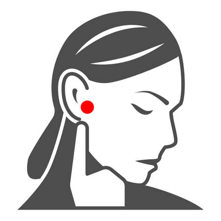 Woman ear hurts solid icon, body pain concept, person has pain in the ears vector sign on white background, glyph style icon for mobile concept and web design. Vector graphics.