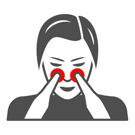 Woman nose disturbs solid icon, body pain concept, person has nasal pain vector sign on white background, glyph style icon for mobile concept and web design. Vector graphics.