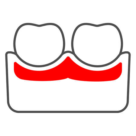 Gum is inflamed thin line icon, body pain concept, dental problems parodontosis vector sign on white background, outline style icon for mobile concept and web design. Vector graphics.