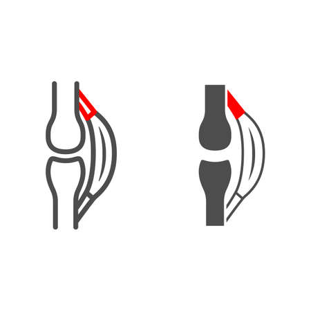 Stretched tendon line and solid icon, body pain concept, strain vector sign on white background, outline style icon for mobile concept and web design. Vector graphics.